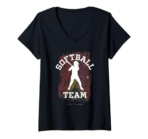 Mujer East Timor Softball Team Girls Baseball Mujeres Softball Camiseta Cuello V