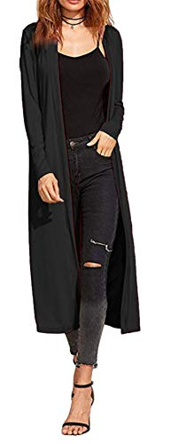 Ladies Maxi Long Length Boyfriend Cardigan Collared Top Long Full Sleeve Floaty (UK 16-18 XL (Plus Size), Black)