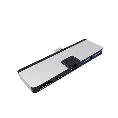 Tablet-dedizierte Dockingstation USB3.0-Kartenleser SD/TF-Dockingstation HDMI 5-in-1-Hub Dockingstation für Surface Pro 7 mit HDMI, RJ-45 Gigabit Ethernet Port 2X USB