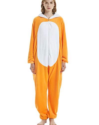 Jumpsuit Tier Pyjama Tierkostüme Erwachsene Schlafanzug Unisex Cosplay Schlafoveralls Nachtwäsche Fuchs L(Höhe 163-175cm)