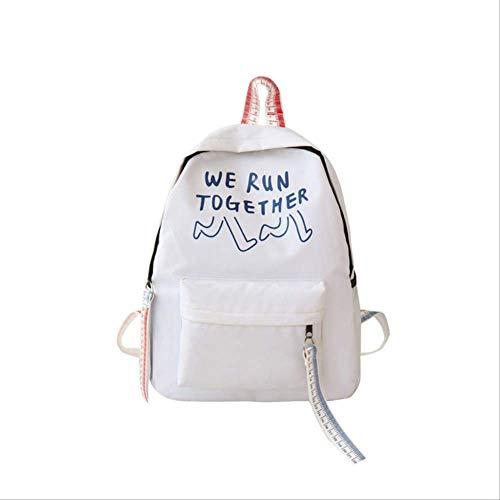 Mochila de diseño de Letras, Mochila de Viaje de Gran Capacidad para Estudiantes Mochila clásica de Rayas, Mochila para niñas Adolescentes Estados Unidos Azul