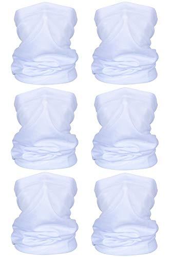 TOLOVIC Multifunktionstuch Halstuch Herren Schlauchschal Sommer Halstuch für Yoga Laufen Wandern Radfahren Motorradfahren (6 Stück-Weiß)