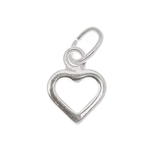 Beadaholique Sterling Silver Sleek Tiny Open Heart Charm 9mm (1)