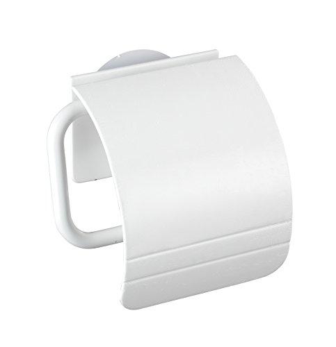 WENKO Static-Loc® Toilettenpapierhalter Osimo Weiß - Befestigen ohne bohren, Polypropylen, 15 x 14 x 5 cm, Weiß