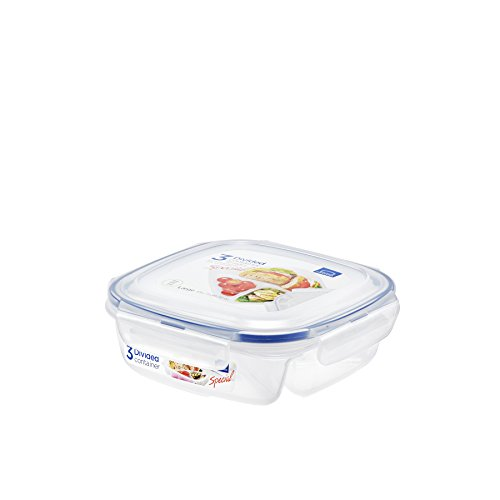 Lock & Lock Square Storage Container with Dividers - Clear, 750 ml
