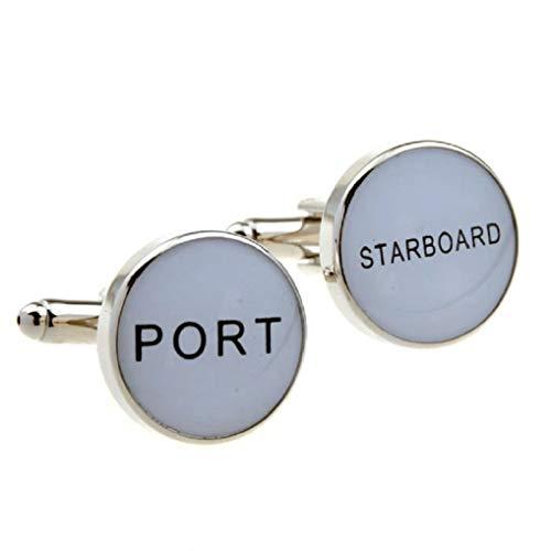 MRCUFF Port Starboard Sailor Ship Boat Navy in a Presentation Gift Box Pair Cufflinks & Polishing Cloth