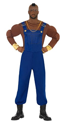 Mr T Costume with Padded Muscle Top, Dungarees and Latex Mask