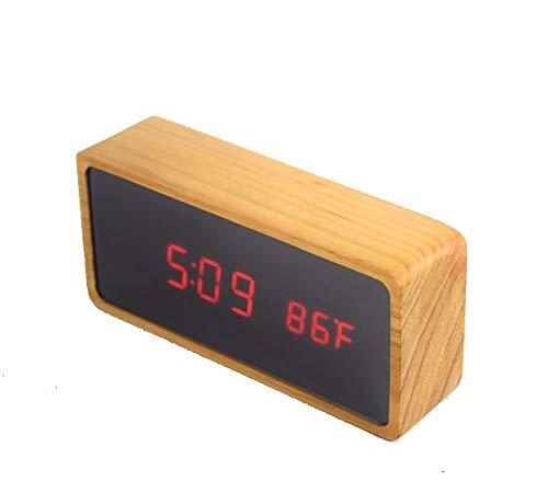 XXBR USB-wekker voor kinderen, digitaal, elektrisch, van hout, led-wekker, digitaal, met alarmklok