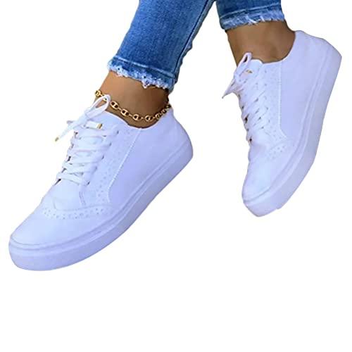 Onsoyours Low-Cut Sneaker Canvas Flache Schuhe Damen Freizeitschuhe Damen Sommer Frühling Turnschuhe Weiß 39 EU