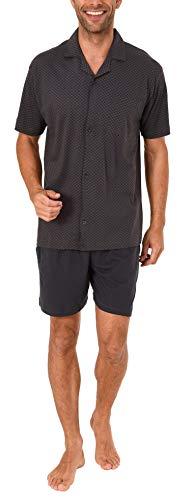 Herren Shorty Pyjama Schlafanzug Kurzarm zum durchknöpfen - auch in Übergrössen bis Gr. 70-191 105 90 519, Größe2:70, Farbe:dunkelgrau