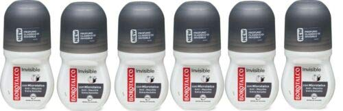 6x BOROTALCO ROBERTS deo roll-on Invisible 50ml deoroller Anti Flecken Spots 48h