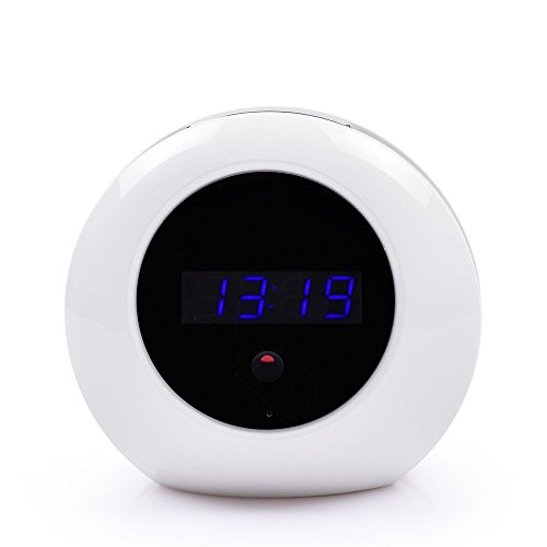 """Spy Camera Alarm Clock 1/4"""" CMOS HD 1080P Hidden Camera with Remote Control and Motion Activated Recording Nanny Cam for Home Security(8G, White)"""