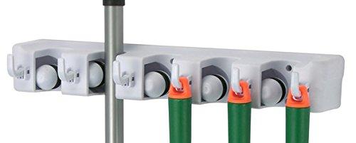 Garten-Gerätehalter & Besenhalter für 11 Geräte - 5 Schnellspanner + 6 Haken - simple Wandmontage + sicherer Halt - stabiler ABS-Kunststoff - perfekt für mehr Ordnung in Haus, Garage & Keller