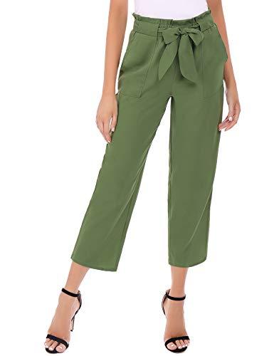 Abollria Damskie spodnie na co dzień, wysoka talia z paskiem, eleganckie spodnie ołówkowe, szyfonowe, stretch, spodnie letnie, długość 9/10, spodnie rekreacyjne z elastycznym ściągaczem, luźne spodnie z kieszeniami