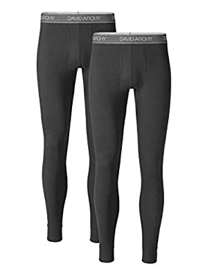 DAVID ARCHY Men's 2 Pack Soft Cotton Thermal Pants Rib Stretchy Base Layer Thermal Underwear Bottoms Long Johns Leggings (S, Dark Gray)