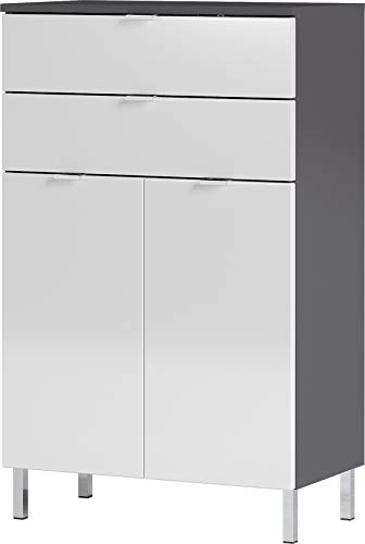 Germania Cómoda, Engineered Wood, Grafito/Blanco, 60 x 97 x 34 cm