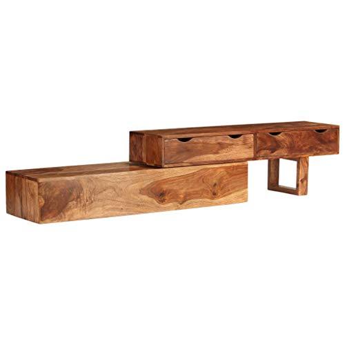 yorten TV-Schrank Rustikal Fernsehtisch Braun TV Lowboard Tisch Holz TV Board Massivholz Sheesham 200 x 35 x 36 cm mit 2 Schubladen