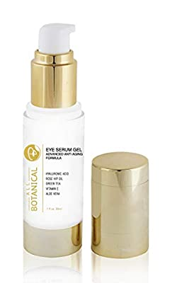 Eye Serum Gel - Hydrating Eye Serum for Puffy Eyes, Dark Circles, Eye Bags, Crows Feet and Wrinkles - Matrixyl 3000, Vitamin B + C + E in a beautiful Airless Bottle