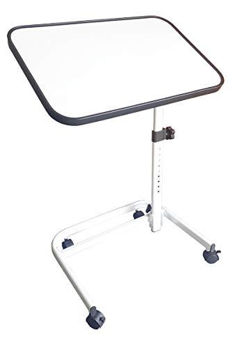 FabaCare Beistelltisch RMF, höhenverstellbarer Betttisch auf Rollen, sehr stabil, Tisch für Bett mit Neigung, klappbar, Winkel verstellbar, Weiss