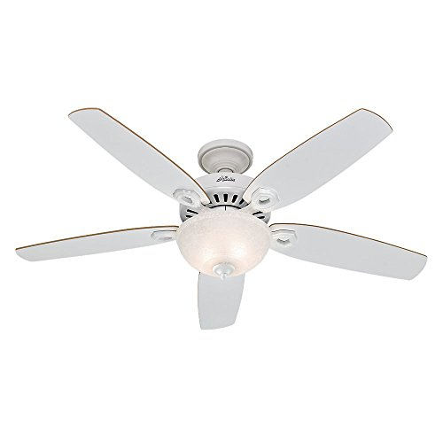 """Hunter Builder Deluxe Indoor Ceiling Fan with LED Light and Pull Chain Control, 52"""", White"""