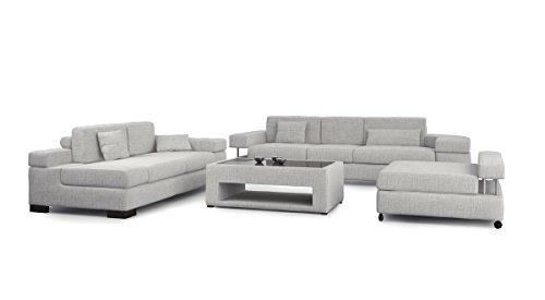 Bullhoff by Giovanni Capellini Sofagarnitur 3-Sitzer + Daybed + XL Hocker weiß Platin grau Couchgarnitur Sofa Couch Stoff Wohnlandschaft MÜNCHEN