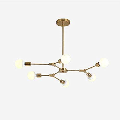 Iluminación de araña molecular de 3 luces SPUTNIK, Araña de metal E27 Araña ajustable, lámpara colgante industrial para sala de estar Bar Golden 3 luces