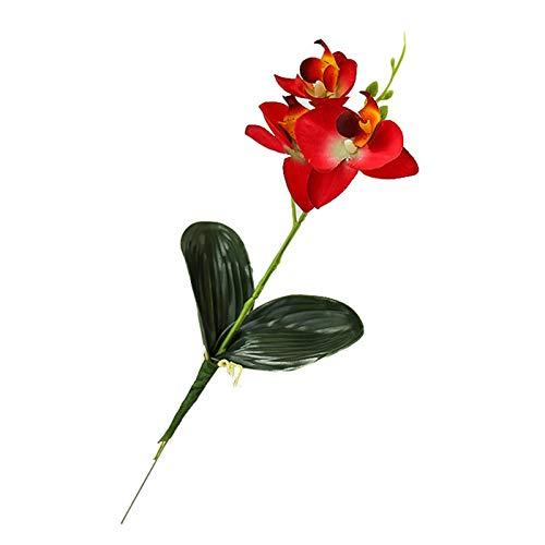 Oce180anYLVUK Flor Artificial, Flor De Phalaenopsis Artificial, Suministros De Bricolaje, Accesorios para Fiestas En El Jardín, Decoración De Escritorio Rojo 5 x Flores