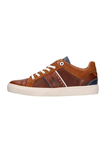Australian Footwear Empire Leather Tan Blue White Mens Sneakers