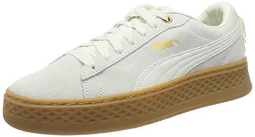Puma Damen Smash Platform Frill Sneaker, Weiß (Whisper White-Puma Team Gold), 39 EU (6 UK)