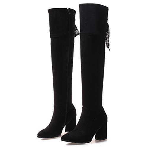 NOADream vrouwen hoge hakken over de knie laarzen Platform leer Suede puntige teen stijlvolle pluche warm wandelen partij bruiloft dij hoge laarzen