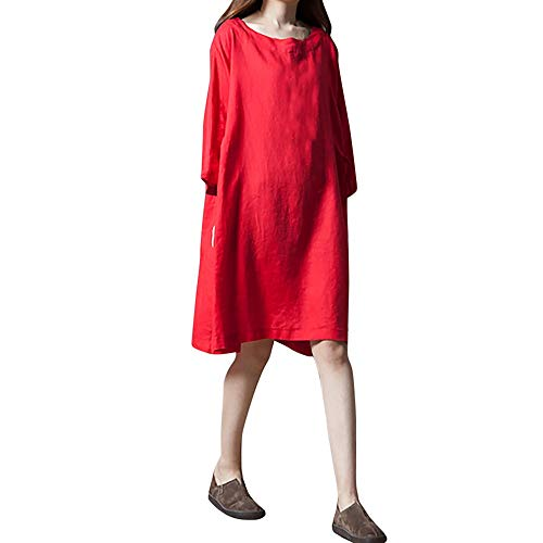 AMSKY Maxi Dress Plus Size,Women Long Sleeve Solid O-Neck Cotton and Linen Loose Plus Size Long Dress,Exotic Apparel > Women > Bodystockings,Red,XL