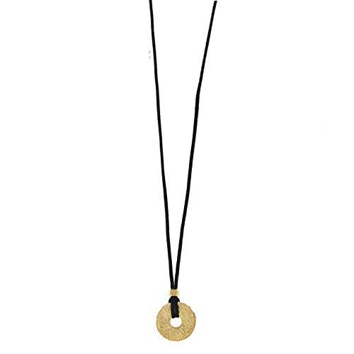 alisia Halskette Seidenband mit Scheibe Roségold