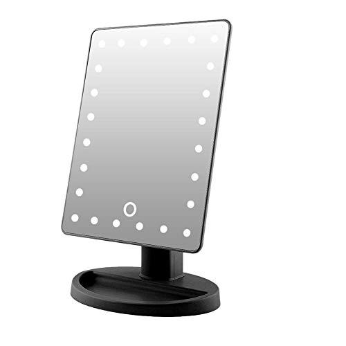 Staande spiegel make-up spiegel, 10 x vergroting make-up spiegel met touchscreen 180 graden instelbaar dimbaar LED-lampen make-up spiegel AA-batterij als stroomvoorziening voor reizen / make-up kamer zwart