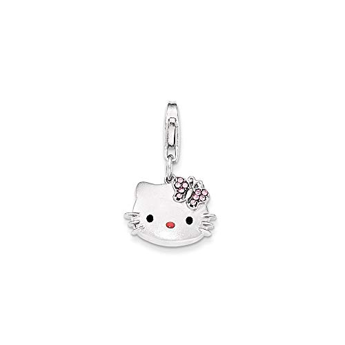 925 Sterling Silver Hello Kitty Pink Nose Crystal Bow Lobster Clasp Pendant Charm Necklace Animal Cat Fine Jewelry For Women Gifts For Her