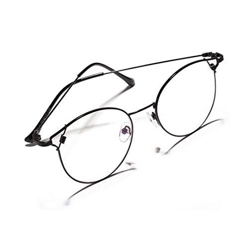 Sunglass Fashion Gafas de Ojos metálicos de Sharp-Eyed Cat'S Frame Clear Lens Vintage Geek Eyelasses para Mujeres. (Color : Negro)