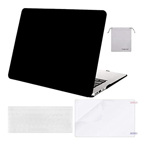 MOSISO Funda Dura Compatible con MacBook Air 13 (A1369/A1466, Versión 2010-2017), Plástico Carcasa Rígida & Cubierta de Teclado & Protector de Pantalla & Bolsa de Accesorios, Negro