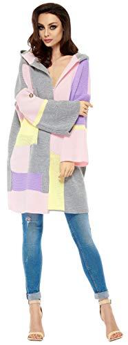 Lemoniade Bunte Strickjacke mit großer Kapuze - Cardigan Damen Jacke lang Mantel Strickmantel (20200155 LS204 hellgrau/puderrosa)