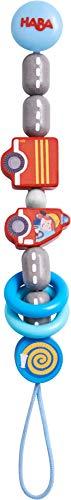 HABA 304630 - Schnullerkette Feuerwehrauto, Schnullerkette aus Holz mit Feuerwehrmotiven und klappernden Kunststoffringen, Baby-Spielzeug ab 0 Monaten
