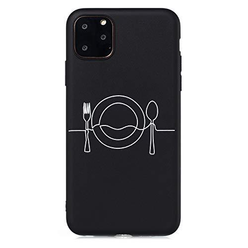 Shinyzone Hülle Kompatibel mit iPhone 11 Pro Max 6.5 Zoll,Handyhülle Einfarbig Schwarze Silikon mit Motiv Matte TPU Rückseite mit [Strichmännchen] Lustiges Kunst Muster-Geschirr