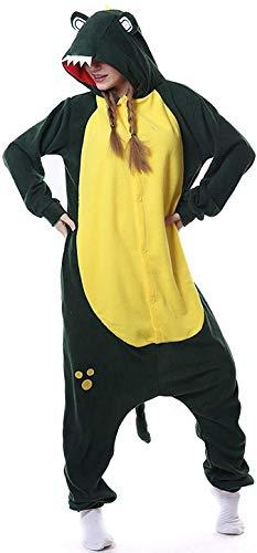 Pkfinrd Adult Pyjamas Unisex Tierkrokodil Onesies Neuheit Fleece Pyjama Nachtwäsche Homewear Onepiece Cosplay Lounge Frauen Geschenke (Color : Crocodile, Size : XL)