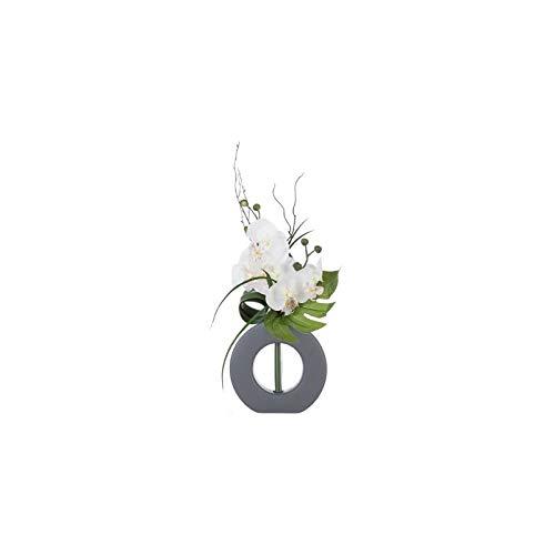 AC-Déco Composizione Floreale in Vaso Grigio–Orchidea Artificiale–Modello Casuale