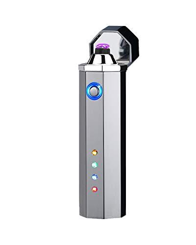 【KOOWLUK】 Encendedor de plasma eléctrico recargable - Encendedor a prueba de viento para exteriores - Encendedor USB sin llama - Pantalla LED de energía restante • Regalo de vacaciones (plateado)