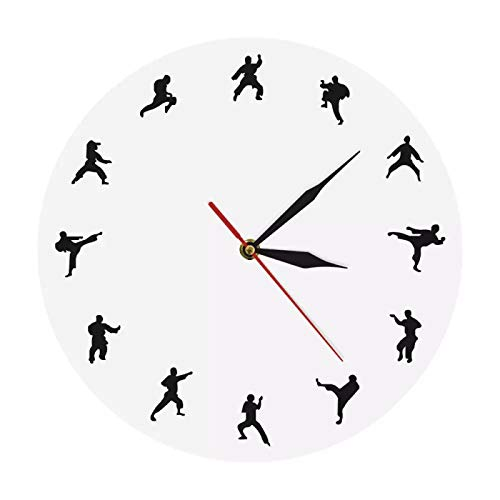 yage Reloj de pared con diseño de taekwondo para decoración del hogar, reloj de pared moderno y redondo para deportista, decoración del hogar, kickboxing, arte contemporáneo de pared, adecuado para sala de estar, dormitorio