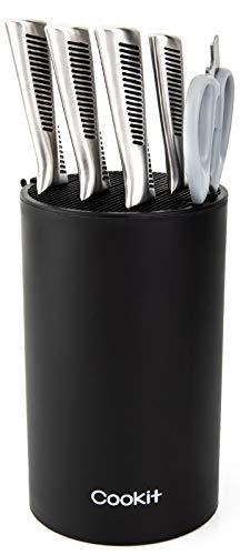 Universal-Messerblockhalter, Cookit Messerblock ohne Messer, einzigartiges doppelschichtiges, gewelltes Design, runder schwarzer Messerhalter für Küche, platzsparender Messeraufbewahrung