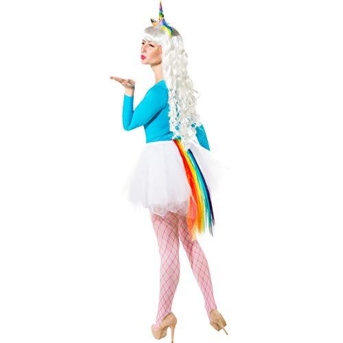 Disfraz de Unicornio set compuesto por diadema para el cabello y cola arcoiris | Colorido | Moderno accesorio para disfraz de fantasía para mujer | Remarcable para fiestas temáticas y carnavales