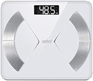 Sanford SF1524FPS Blutooth Body Flat Monitor Personal Scale, Silver/Gray