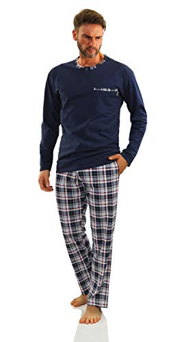 Sesto Senso Herren Schlafanzug Lang Pyjama 100% Baumwolle Langarm Shirt mit Tasche Pyjamahose Zweiteilig Set Nachtwäsche Dunkelblau Kariert XXL Jasiek 2188/06