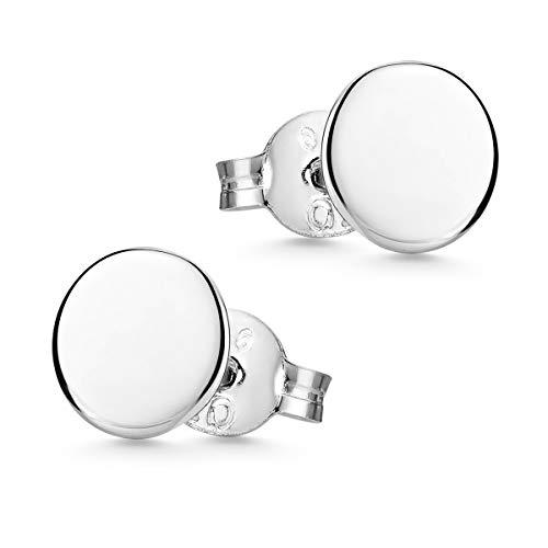 MATERIA Ohrstecker Silber 925 klein - Ohrringe Herren Damen Kinder rund flach zweites Ohrloch SO-438-3mm