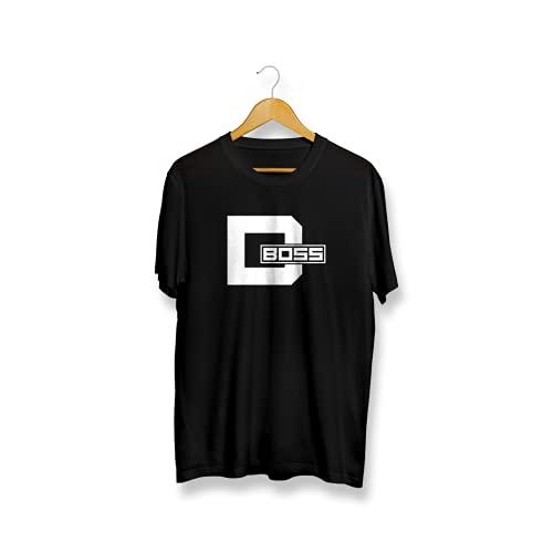 IRUVE D-Boss Unisex Cotton Regular Fit Printed Kannada T-Shirt {Black- Large}