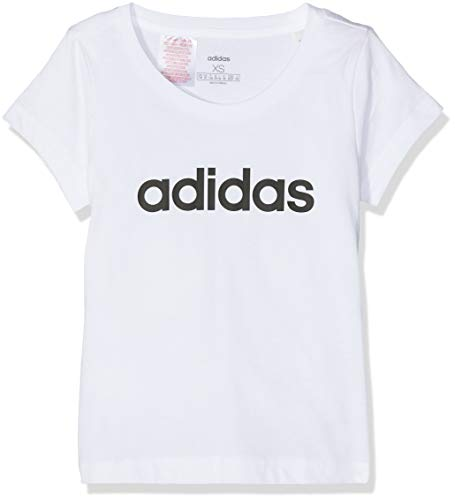 adidas Essentials Linear Tee, T-Shirts Bambina, White/Black, 13-14A